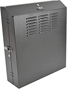 "Tripp Lite 4U Vertical Wall Mount Rack Enclosure Cabinet, Low Profile, Switch-Depth, 20"" Deep, Black (SRWF4U)"