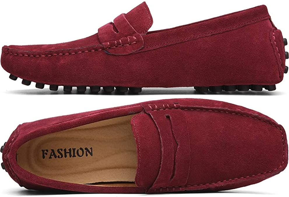 US M Color : Wine, Size : 8.5 D Mens Casual Driving Penny Loafers Suede Genuine Leather Moccasins Slip-On Boat Shoes CHENDX Shoes