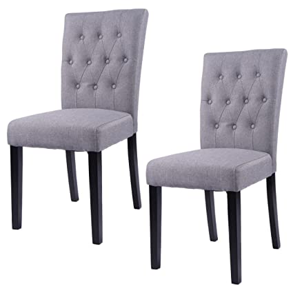 Superbe Giantex Set Of 2 Button Tufted Fabric Dining Chairs Armless Upholstered  Chair Grey