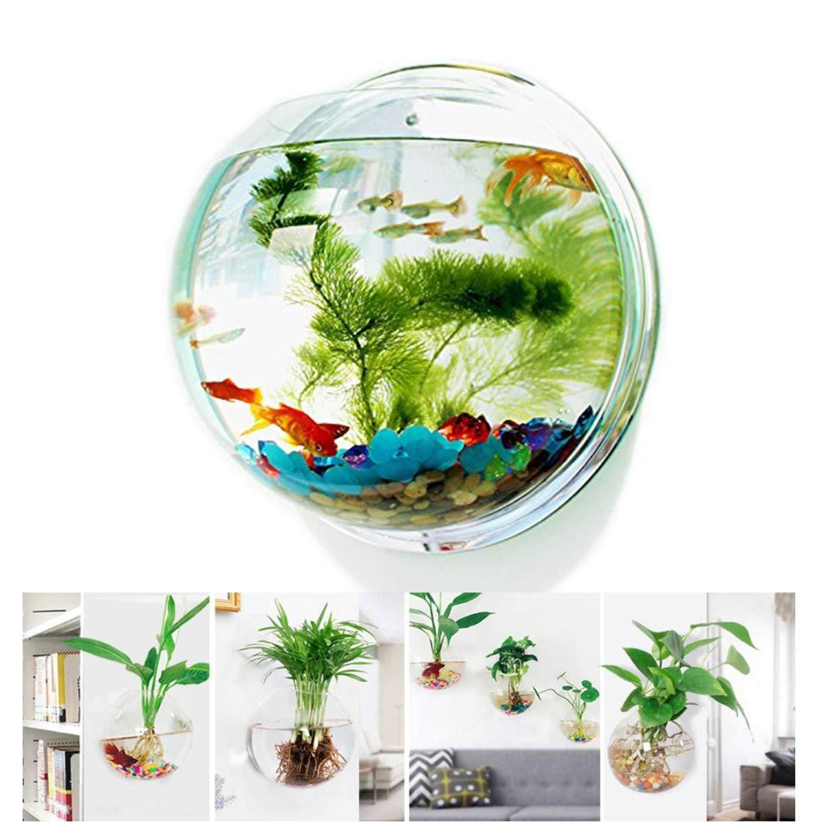 WXJHA Wall-Hanging Fish Bowl,Acrylic Background Pot Bubble Aquarium Bowl Fish Tank,Gallon Fish Tank Home Decoration by WXJHA
