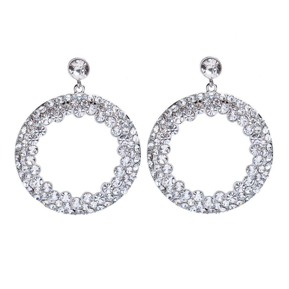 Beautiful Dazzling Crystal Rhinestone Round Circle Dangle Drop Earrings Clear
