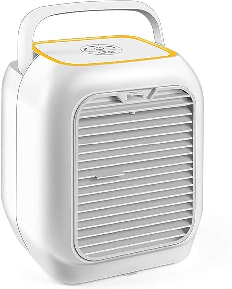 Ventilador personal de aire acondicionado, ventilador de escritorio pequeño de 9.5 pulgadas, silencioso ventilador de mesa personal Mini evaporador de aire circulador, humidificador sin aspas, silencioso para recámara de oficina y Ni: