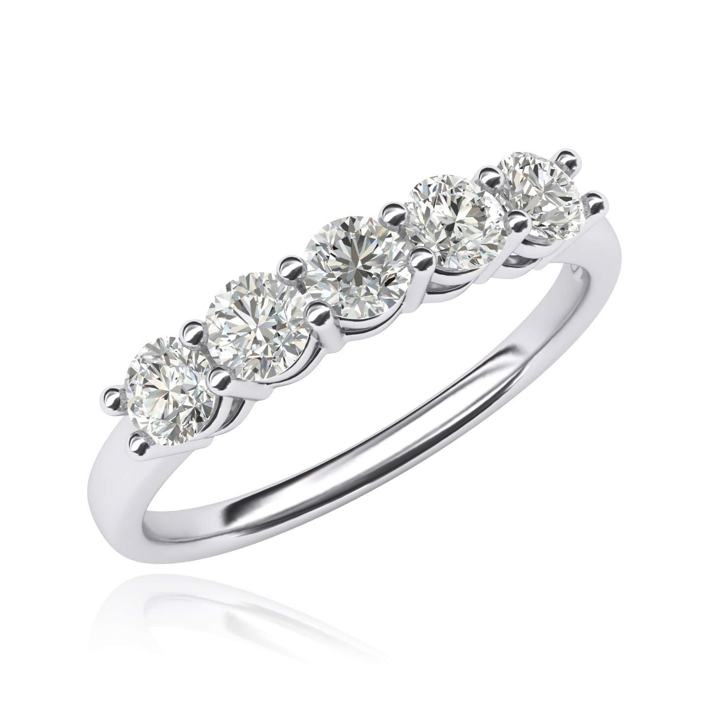 10k White Gold Eternal Five Stones Anniversary Ring Simulated Brilliant Diamonds Eternity ring 1.25ctw for Women (8.5)