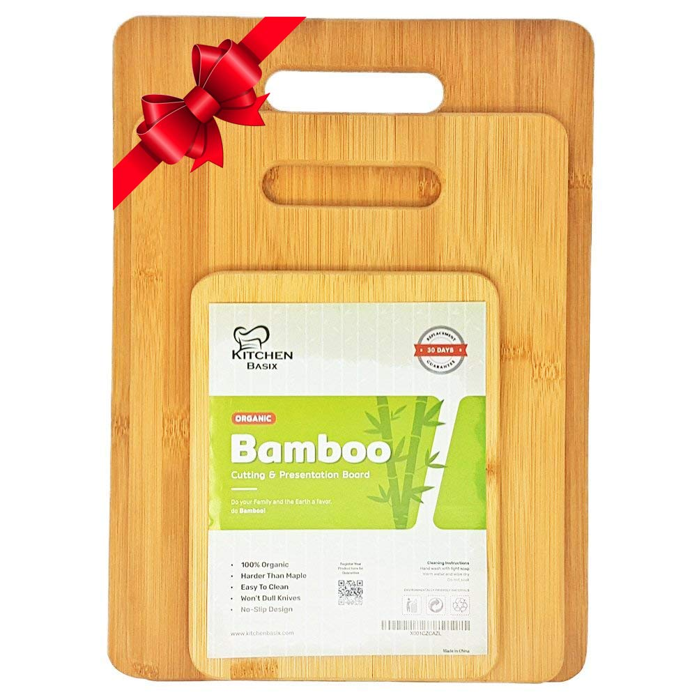 Bamboo Cutting Board 3 Piece Set, Made From Premium 100% Organic And Safe Antibacterial Wood, Newest Non-Stick Design, FDA Approved And BPA Free Kitchen Chopper - Reversible. K BASIX
