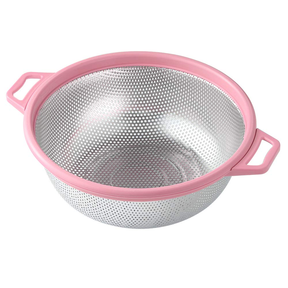 "Stainless Steel Colander With Handle and Legs, Large Metal Pink Strainer for Pasta, Spaghetti, Berry, Veggies, Fruits, Noodles, Salads, 5-quart 10.5"" Kitchen Food Mesh Colander, Dishwasher Safe"