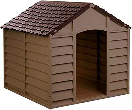 Avanti Maxi - Caseta para Perros de Resina plástica – Tamaño Mediano/Grande – 78 x 84 x 85 cm – marrón: Amazon.es: Hogar