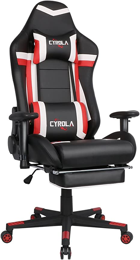 Gaming Chair For Pc Racing Gamer Chair High Back 90 180 Adjustable Game Chair Larger Size Adult Computer Gaming Chair With Footrest Armrest Adjustable Lumbar Support Ergonomic Cyrola Red White Kitchen