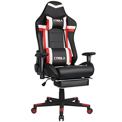 Astounding Cyrola High Back Computer Gaming Chair With Footrest Pc Caraccident5 Cool Chair Designs And Ideas Caraccident5Info