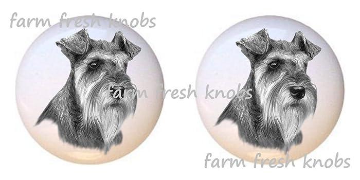 Amazing SET OF 2 KNOBS   Schnauzer Dog   Dogs   DECORATIVE Glossy CERAMIC Cupboard Cabinet  PULLS
