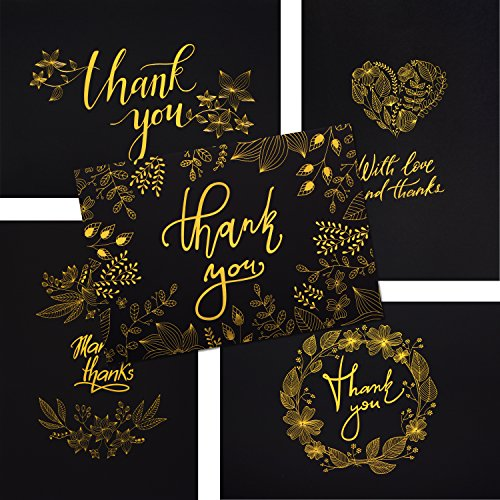 50 Thank You Cards - Black and Gold Note Cards with Embossed Foil - Perfect for Your Wedding, Baby Shower,...