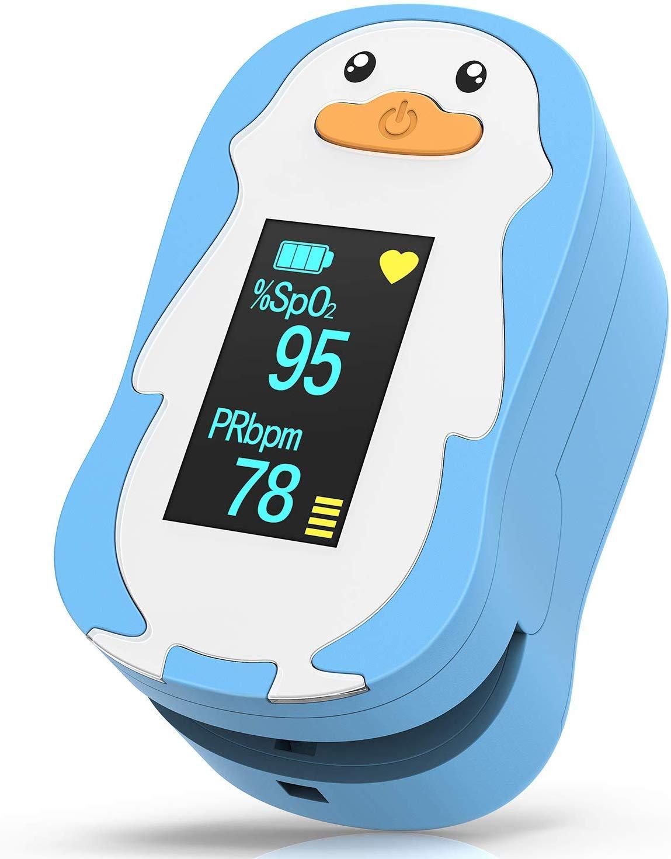 HOMIEE Punta de Dedo del Oxímetro de Pulso para Niños, Niños Uso Infantil Monitor de Saturación de Oxígeno en la Sangre Oxímetro de SpO2, Función de ...