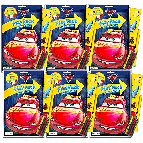 Disney Cars Ultimate Party Favors Packs -- 6 Sets with Stickers, Coloring Books and Crayons (Party Supplies) -