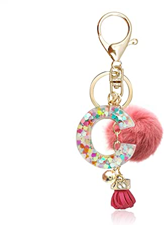 OKAICEN Deep Pink Resin Alphabet Initial Letter Keychain Keyring for Women Purse Handbags With Fur Ball Pom