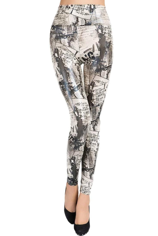 "Antemi - Women - Legging retro pattern paper and write ""Srita"" - Black"