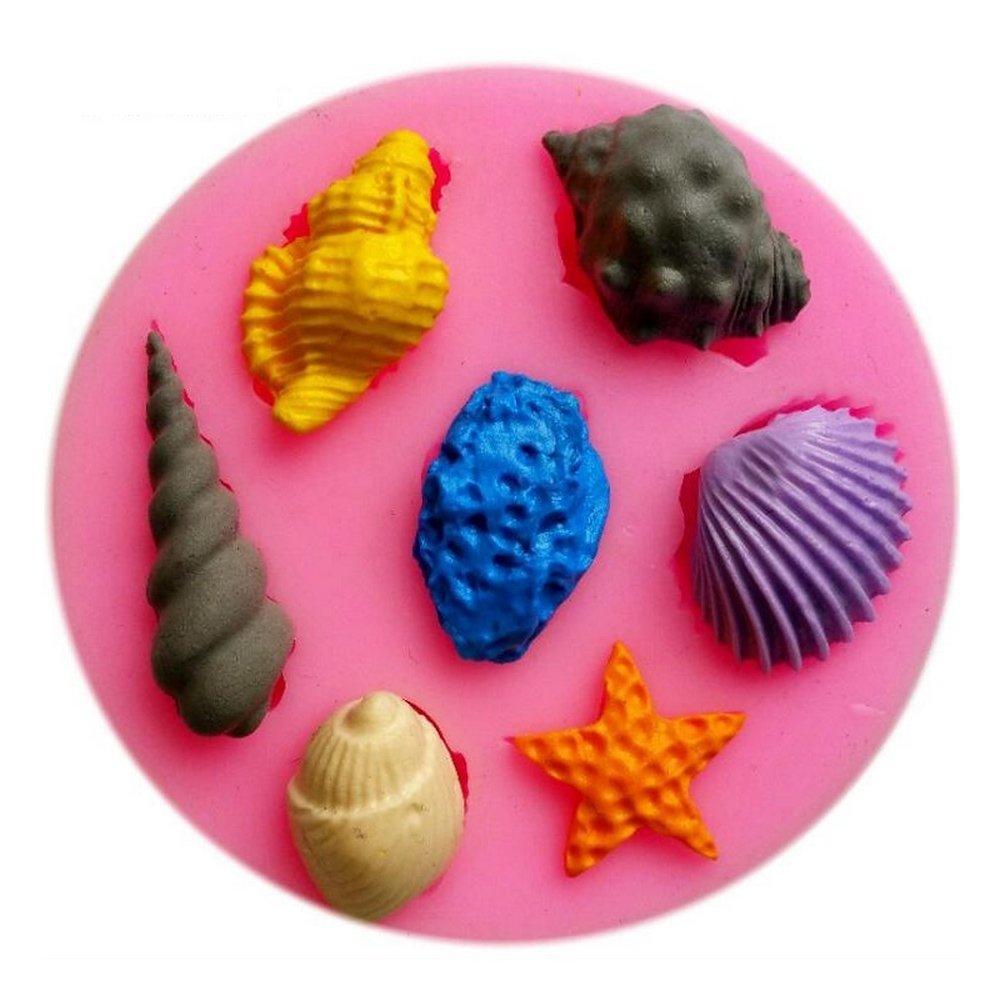 Hineway 4PCs 3D Silicone Sugar Chocolate Fondant Molds Cake Jelly Molds Kitchen Baking Tool Children Bakeware (Sea Animal)