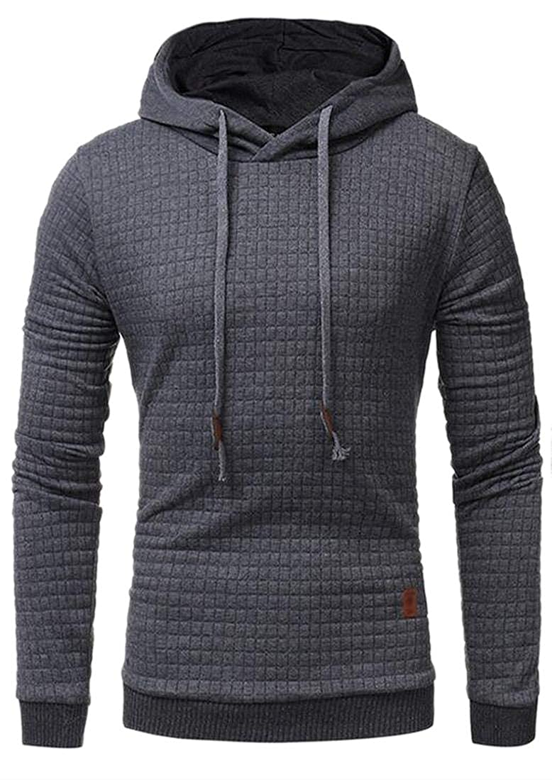 WSPLYSPJY Men Pure Warm Pullover Slim Fit Fall Winter Hood Outwear Sweatshirts