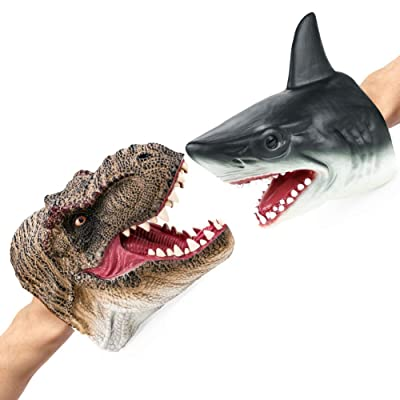 Epessa Dinosaur Duel Shark Hand Puppet Set for Kids Who Love Role Play Dinosaur Toy Shark Toy Hand Painted: Toys & Games