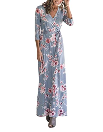 a099717a960 Luluka Women s 3 4 Sleeve Floral Print Faux Wrap Maxi Long Dresses with Belt  US Small Blue at Amazon Women s Clothing store