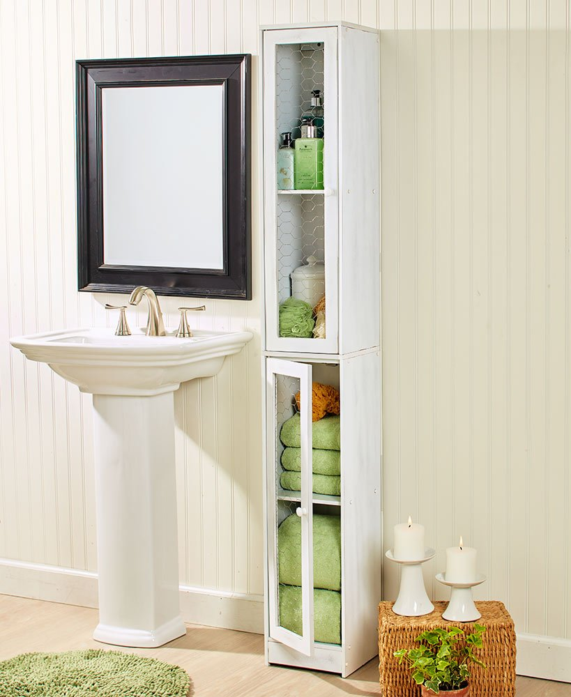 Slim Rustic Country Cabinet Whitewashed