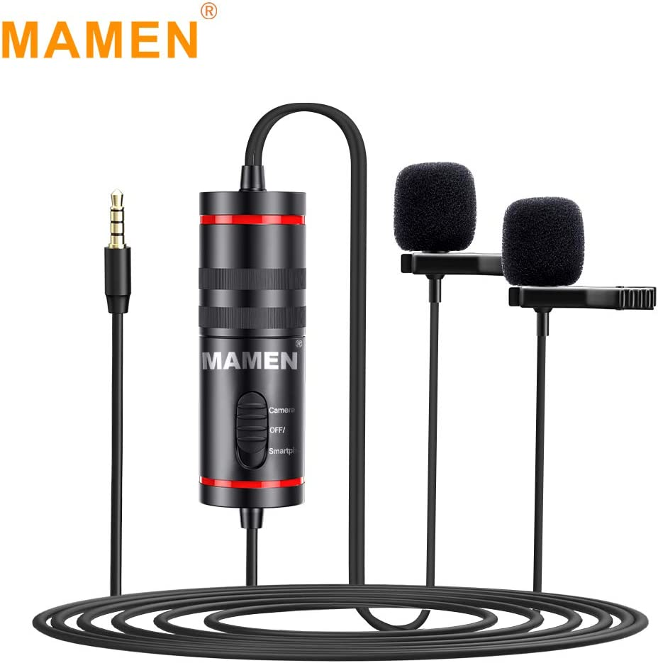 RuleaxAsi Pro 3.5mm Lavalier Microphone with Dual Mics Omni-Directional Sound Pickup 6.35mm Audio Adapter for Smartphones Cameras Recording Pen for News Interview Sound Video Recording Conference
