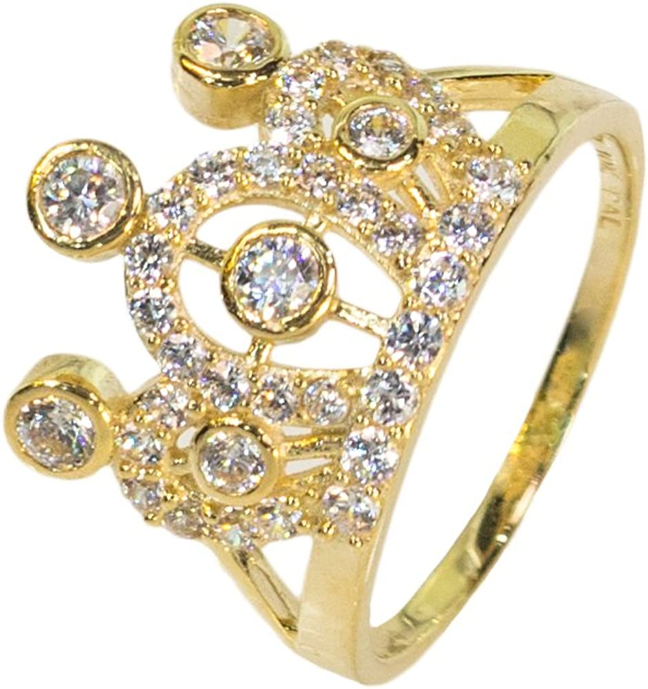 6 IcedJewels 1.65 cttw Round CZ 10K Yellow Gold Quinciniera Crown Ring