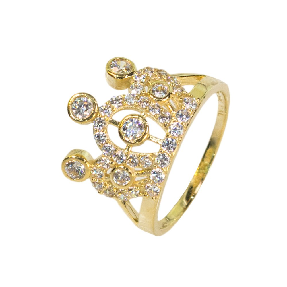 9 IcedJewels 1.65 cttw Round CZ 10K Yellow Gold Quinciniera Crown Ring