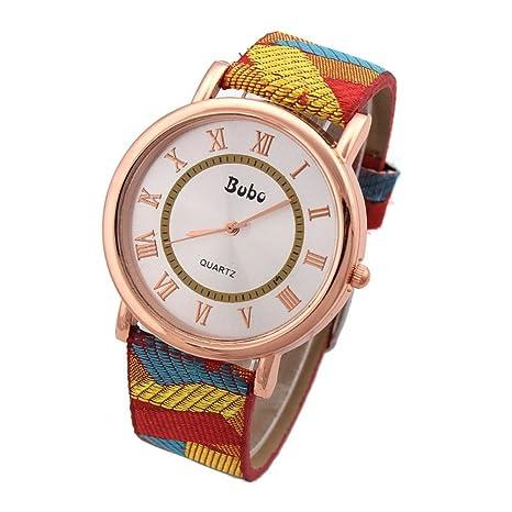 Hotlove tela de números romanos reloj cuarzo moda casual nuevo 2015 mujer pulsera de oro caso