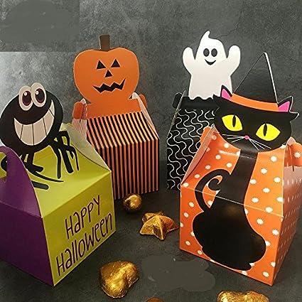 Astra Gourmet Halloween Candy Corn araña, calabaza y fantasma – cajas de regalo recuerdo de
