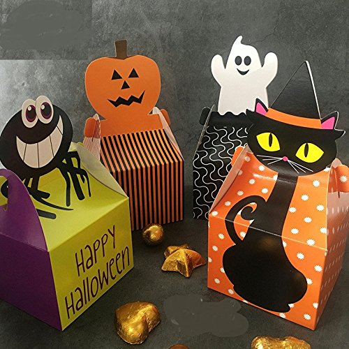 Astra Gourmet Halloween Candy Corn Spider Ghost Pumpkin Treat Boxes Party Favors, Pack of -
