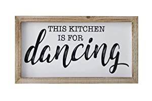 SANY DAYO HOME Rustic Wood Framed Signs 9 X 16 inch Hanging Farmhouse Wall Art Décor with Funny Saying for Home, Kitchen, Bathroom - This Kicthen is for Dancing
