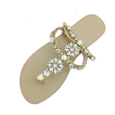 Younsuer Women Rhinestone Chain Gladiator Flat Sandals Gold cf998b18e6da