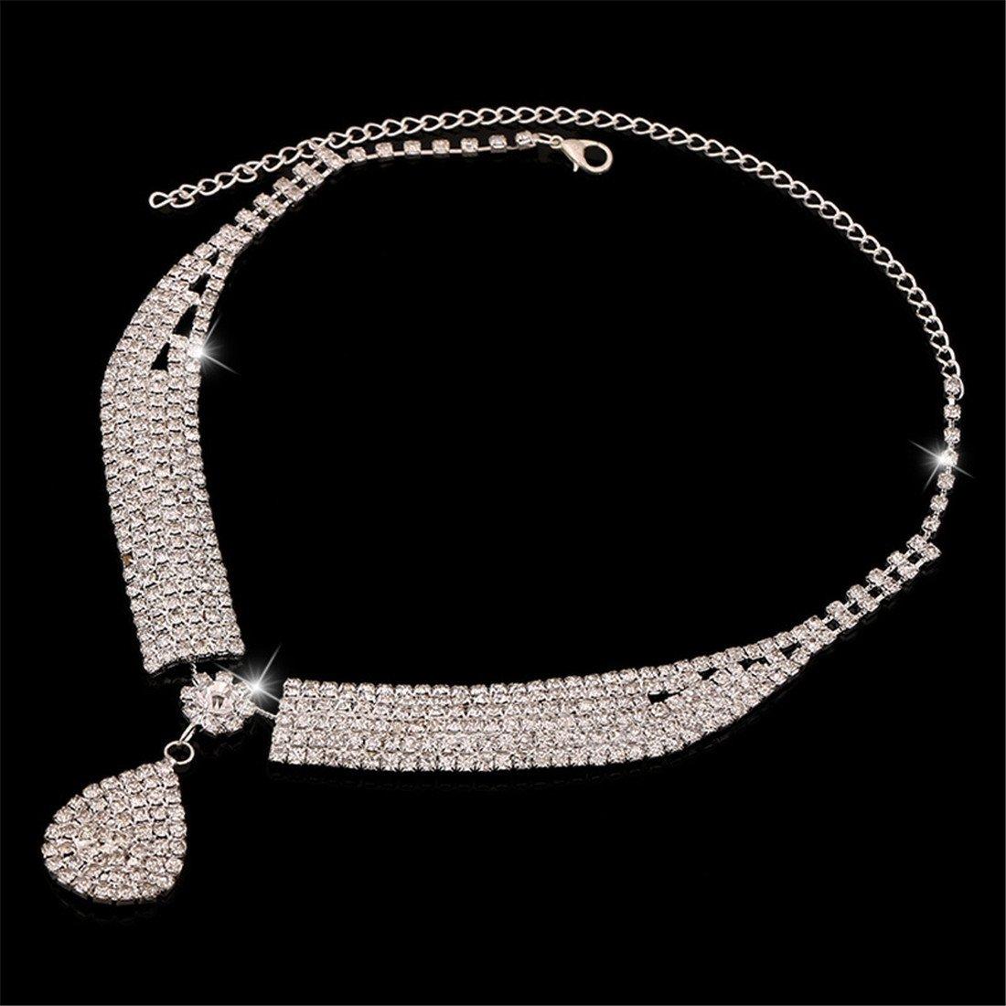 FANCY LOVE Crystal Rhinestone Bridal Necklace Earrings Jewelry Sets by FANCY LOVE JEWELRY (Image #5)