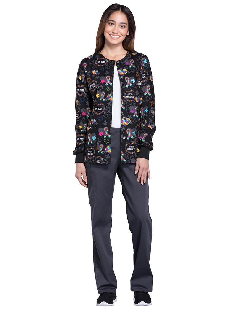 Cherokee Fashion Prints Women's Snap Front Warm Up Autism Awareness Print Scrub Jacket Medium Print