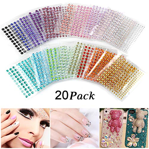 Self-Adhesive Rhinestones, Ubegood Rhinestone Stickers 3300 PCS DIY Gem Rhinestone 4 Sizes 20 Colors Assorted Ideal for Makeup, Festival, Crafts & Embellishments(Pack of 20) by UBEGOOD