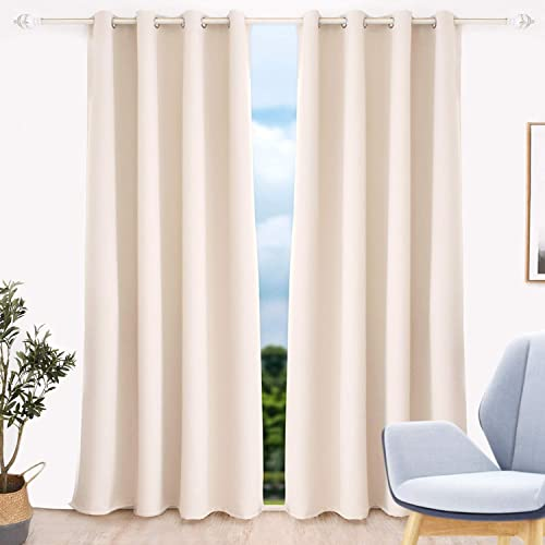 GELUOLI Beige Blackout Curtains 96 inches Long Living Room Curtains 96 inches Long Beige Curtains Cream Curtains Fashion Thermal Insulated Blackout Curtains Room Darkening Thermal Insulated Grommet