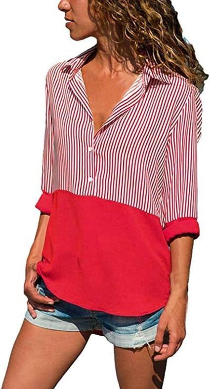 Camisa Rayas de manga larga mujeres, toamen Patchwork rayas ...