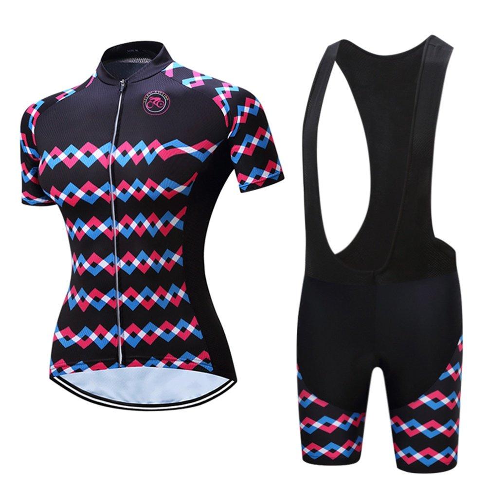 Trägerhose Frauen mit kurzen Ärmeln Radtrikot mit kurzen Hosen - Radsportbekleidung