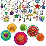 Birthday Party Supplies Kit- Fiesta Decorations Paper Fans (6 Pcs) and Rainbow Swirl Decorations Balloon Fun Mega Value Pack Hanging Decor (50 Ct) for Cinco De Mayo, Party, Event, Home Decoration