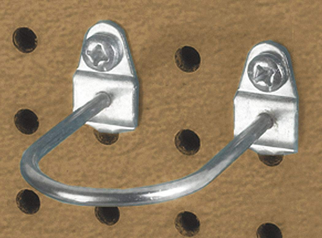 Steel U-Shaped Pegboard Hook, Screw In Mounting Type, Silver, Finish: Bright Zinc pack of 5