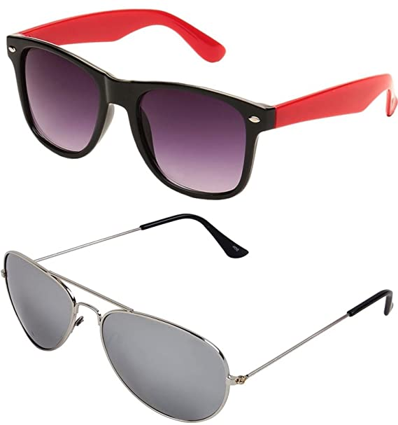 a6ef5eb6737 SHEOMY COMBO OF STYLISH SILVER MERCURY AVIATOR GOGGLES AND BLACK RED  WAYFARER SUNGLASSES WITH 2 BOX Best Online Gifts  Amazon.in  Clothing    Accessories