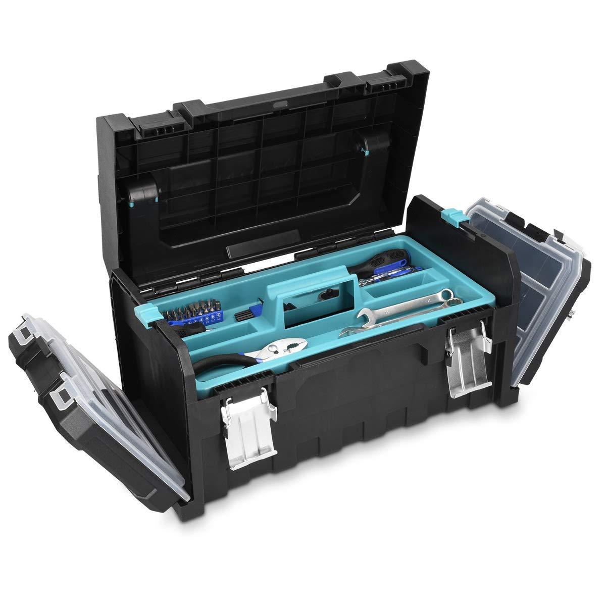 Organizador con 2 cierres de acero y 2 bandejas extra/íbles Navaris caja de herramientas de pl/ástico Malet/ín para bricolaje con asa de aluminio