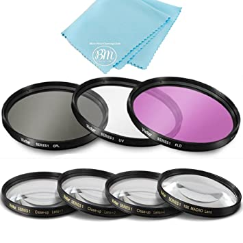 77mm 7PC Filter Set for Nikon COOLPIX P1000 16 7 Digital Camera - Includes  3 PC Filter Kit (UV-CPL-FLD) and 4PC Close Up Filter Set (+1+2+4+10)