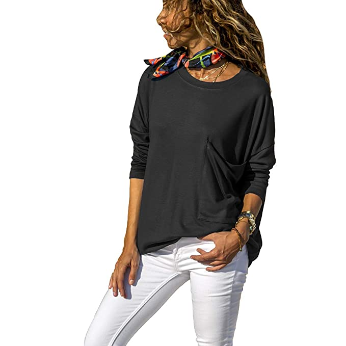 bd94b128bdaec2 WENFUMEI Crew Neck Solid Shirt Long Sleeve Plus Size Loose Women's Blouse  with Pocket (Color