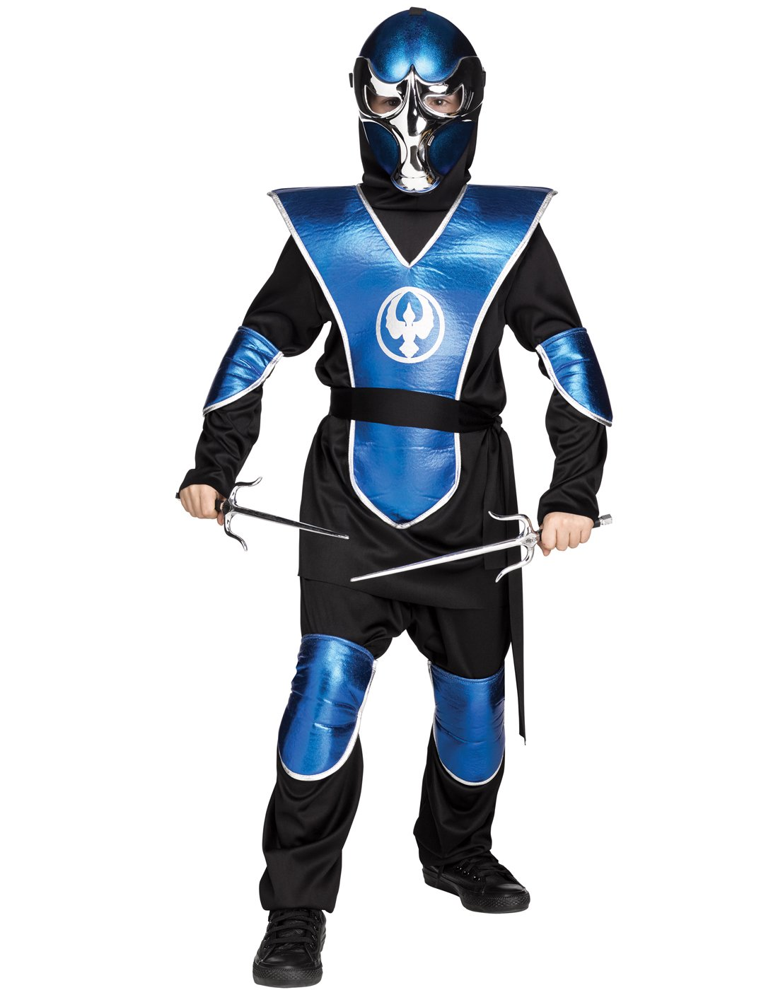 Fun World Big Boy's Chrome Raven Ninja Costume, Large, Blue by Fun World