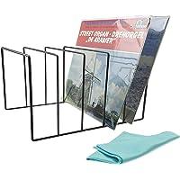 Record-Happy Vinyl Record Storage Holder – Premium Metal Rack Display Stand with Microfiber LP Cleaning Cloth - Vinyl…
