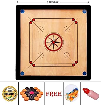 S T C 20 Inch Wood Round Pocket Carrom Board with Coins, Striker, and Powder ,