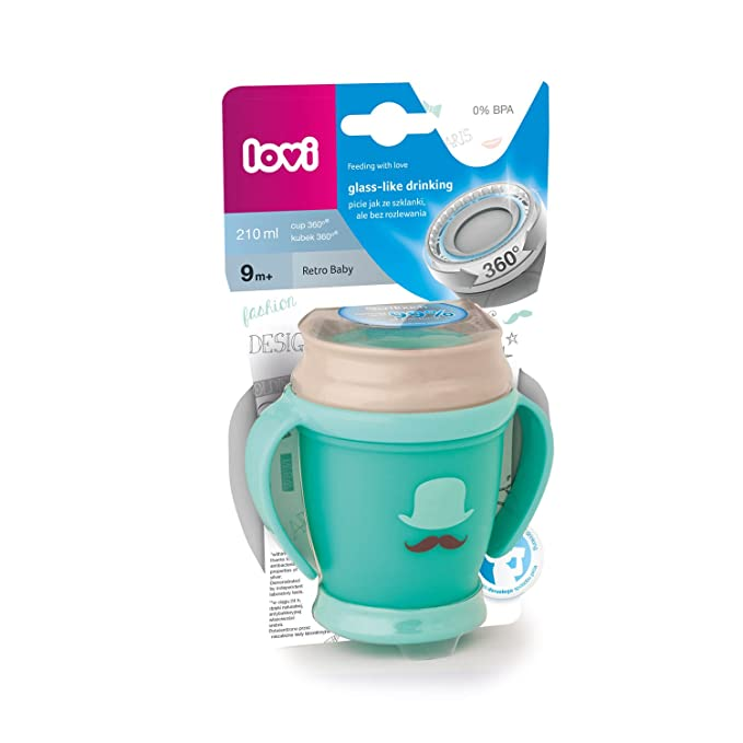 LOVI Mini - Taza 360º con asas, diseño Retro, 210 ml, color mint