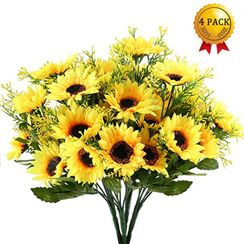 Nahuaa 4PCS Artificial Sunflowers Bundles Fake Silk Flowers Bouquets Fuax Floral Table Centerpieces Arrangements Decor Wedding Home Kitchen Office Windowsill Spring Decorations by Nahuaa