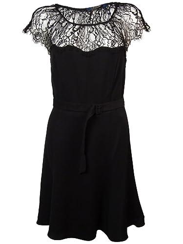 Polo Ralph Lauren Women's Belted Illusion Lace A-Line Dress