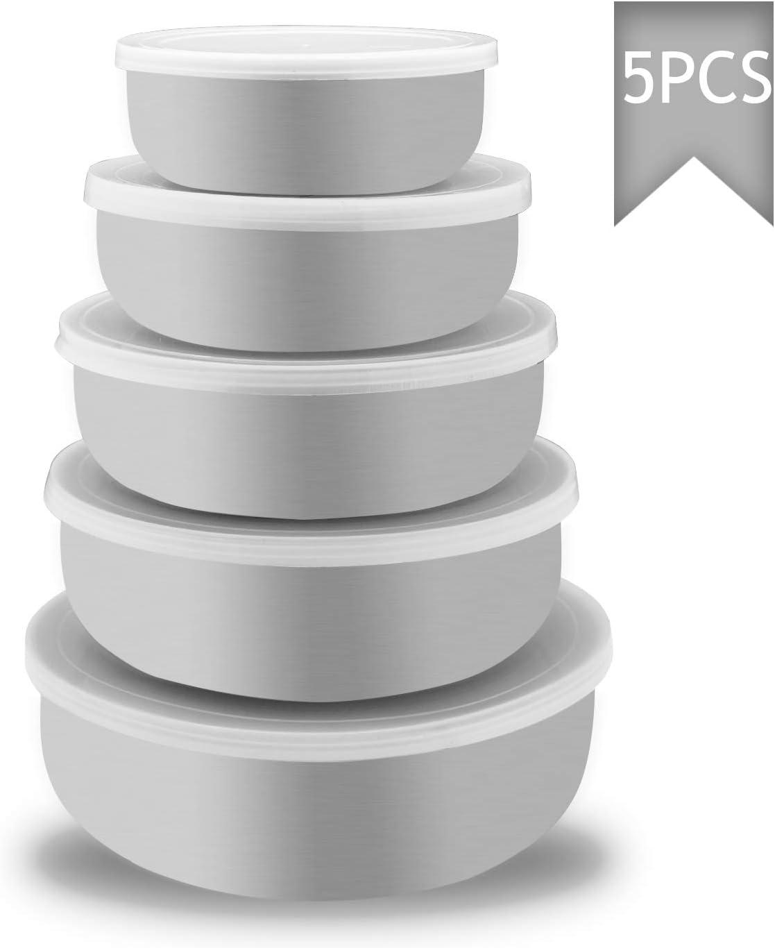 Acero Inoxidable Fiambrera e!Orion Fiambrera con Tapa Contenedores de Alimentos Conjunto de 5 Apta para lavavajillas